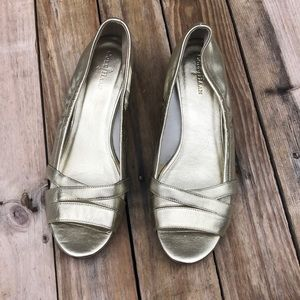 Cole Haan | Gold Peep Toe Small Wedge size 7.5